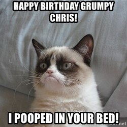 Grumpy cat 5 - Happy Birthday Grumpy Chris!  I pooped in your bed!