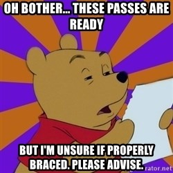 Skeptical Pooh - Oh bother... These passes are ready But I'm unsure if properly braced. Please advise.