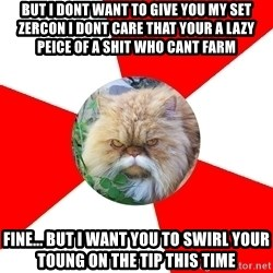 Diabetic Cat - But i dont want to give you my set zercon i dont care that your a lazy peice of a shit who cant farm fine... but i want you to swirl your toung on the tip this time