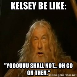 "Gandalf You Shall Not Pass - Kelsey be like: ""yooouuu shall not... oh go on then."""