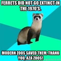 Obvious Question Ferret - Ferrets did not go extinct in tHE 1970's.  Modern Zoos Saved them. Thank you, AZA Zoos!