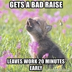 Baby Insanity Wolf - Gets a bad raise Leaves work 20 minutes early