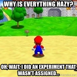 Mario looking at castle - Why is everything hazy? Oh, wait, I did an experiment that wasn't assigned...