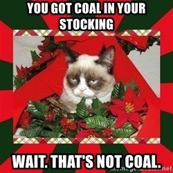 GRUMPY CAT ON CHRISTMAS - you got coal in your stocking wait. that's not coal.