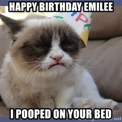 Birthday Grumpy Cat - Happy Birthday Emilee I pooped on your bed