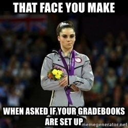 Unimpressed McKayla Maroney - that face you make when asked if your gradebooks are set up