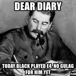 Dear Diary - dear diary today black played e4. no gulag for him yet