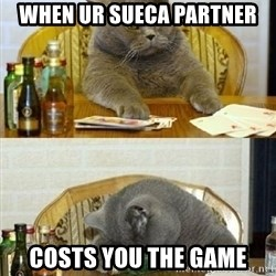 Poker Cat - when ur sueca partner costs you the game