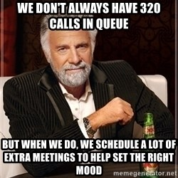 Most Interesting Man - WE DON'T ALWAYS HAVE 320 CALLS IN QUEUE BUT WHEN WE DO, WE SCHEDULE A LOT OF EXTRA MEETINGS TO HELP SET THE RIGHT MOOD