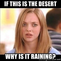 Karen from Mean Girls - IF THIS IS THE DESERT WHY IS IT RAINING?