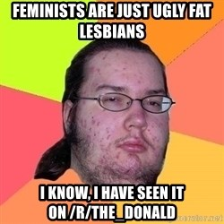 Gordo Nerd - FEMINISTS ARE JUST UGLY FAT LESBIANS I KNOW, I HAVE SEEN IT ON /r/The_Donald