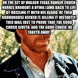 Chuck Norris Pwns - On the set of Walker Texas Ranger Chuck Norris brought a dying lamb back to life by nuzzling it with his beard. He then roundhouse kicked it, killing it instantly. This was just to prove that the good Chuck giveth, and the good Chuck, he taketh away.