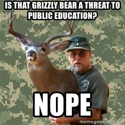 Chuck Testa Nope - Is that grizzly bear a threat to public education? Nope