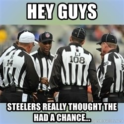 NFL Ref Meeting - Hey guys Steelers really thought the had a chance...