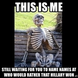 Still Waiting - This is me Still waiting for you to name names at who would rather that Hillary won