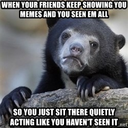 Confessions Bear - When your friends keep showing you memes and you seen EM all So you just sit there quietly acting like you haven't seen it