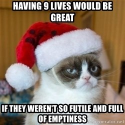 Grumpy Cat Santa Hat - having 9 lives would be great if they weren't so futile and full of emptiness