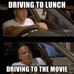 Vin Diesel Car - Driving to lunch  Driving to the movie