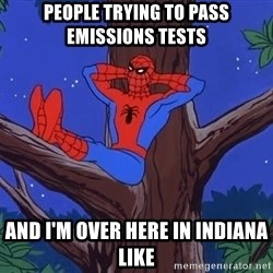 Spiderman Tree - People trying to pass emissions tests And I'm over here in Indiana like
