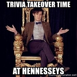 Hipster Doctor Who - trivia takeover time at hennesseys