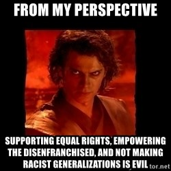 Perspective Analyst Anakin - From my perspective  supporting equal rights, empowering the disenfranchised, and not making racist generalizations is evil