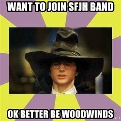 Harry Potter Sorting Hat - want to join sfjh band ok better be Woodwinds