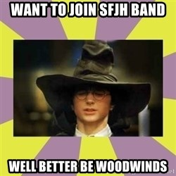 Harry Potter Sorting Hat - Want to join sfjh band well better be woodwinds