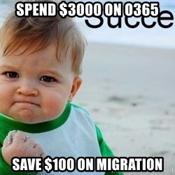 success baby - spend $3000 on O365 Save $100 on migration