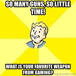 Fallout 3 - So many guns, so little time! What is your favorite weapon from gaming?