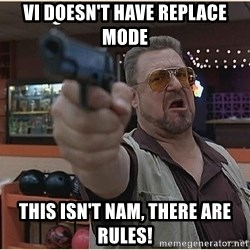 WalterGun - vi doesn't have replace mode this isn't NAM, there are rules!