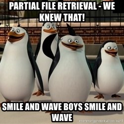 Madagascar Penguin - Partial File Retrieval - we knew that! smile and wave boys smile and wave