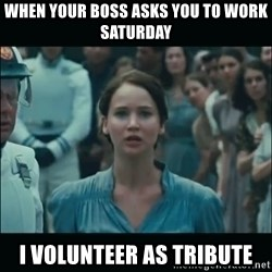 I volunteer as tribute Katniss - When your boss asks you to work Saturday  I volunteer as tribute