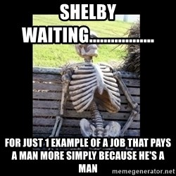 Still Waiting - Shelby waiting.................. For just 1 example of a job that pays a man more simply because he's a man