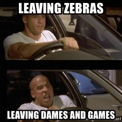 Vin Diesel Car - Leaving zebras Leaving dames and games