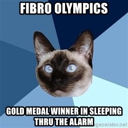 Chronic Illness Cat - fibro olympics gold medal winner in sleeping thru the alarm