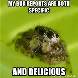 The Spider Bro - My bug reports are both specific and delicious