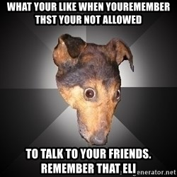 Depression Dog - What your like when youremember thst your not allowed to talk to your friends. Remember that Eli