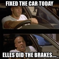 Vin Diesel Car - Fixed the car today ELLES did the brakes....