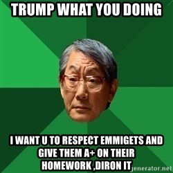 High Expectations Asian Father - Trump what you doing  i want u to respect emmigets and give them A+ on their homework ,diron it