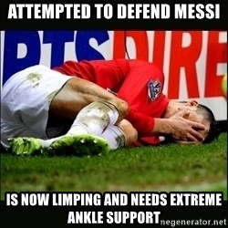 cristiano ronaldo crying - attempted to defend messi is now limping and needs extreme ankle support