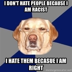 Racist Dawg - I don't hate people because I am racist I hate them becasue I am right