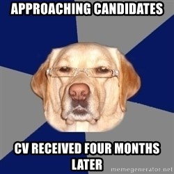 Racist Dawg - Approaching candidates CV received four months later
