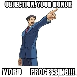 OBJECTION - OBJECTION, YOUR HONOR WORD       PROCESSING!!!