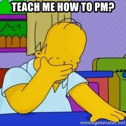 Homer Facepalm - Teach me how to PM?