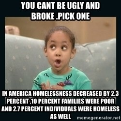 Raven Symone - you cant be ugly and broke .pick one in america homelessness decreased by 2.3 percent ,10 percent families were poor and 2.7 percent individuals were homeless as well