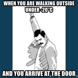 Freddy Mercury - when you are walking outside under -20°C and you arrive at the door