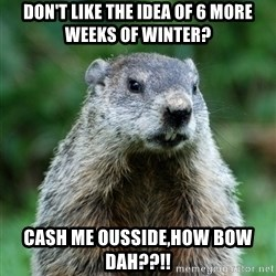 grumpy groundhog - Don't like the idea of 6 more weeks of winter? cash me ousside,how bow dah??!!