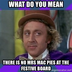 Sarcastic Wonka - What do you mean  There is no Mrs Mac pies at the festive board