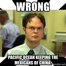 Dwight from the Office - Wrong Pacific Ocean keeping the Mexicans of China.