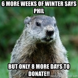 grumpy groundhog - 6 more weeks of winter says Phil But only 8 more days to donate!!